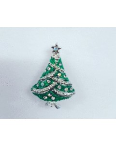 Rhodium Plated Christmas Tree Brooch B6565
